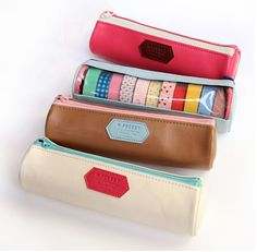 M Pocket Case. A small round pen case as a washi tape organizer. Great for on the go journaling! Washi Tape Storage, Cute Pens, Online Shopping, Small Gift Bags, Decorative Tape, Pencil Bags, Pen Case, Masking Tape, Washi Tapes