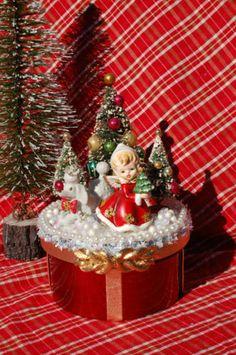 Vintage Napco Christmas angel and bottle brush trees.