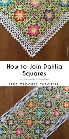 How to Join Dahlia Squares Free Crochet Pattern Crochet Square Patterns, Crochet Blocks, Crochet Squares, Crochet Blanket Patterns, Crochet Motif, Crochet Designs, Crochet Flowers, Crochet Stitches, Granny Squares