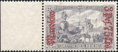 German Post offices in Morocco, overprint on regular german stamps [MiNr 57 II B] 3p75¢ on 3mk Dark lilac red overprint, on Black violet gray. 25:17 Perforation. War printing