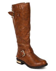 Nature Breeze BD16 Women Leatherette Buckle Gold Plating Heel Knee High Riding Boot - Tan >>> This is an Amazon Affiliate link. To view further for this item, visit the image link.
