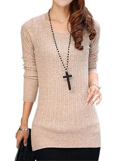 Chic O-Neck Full Sleeve Nipped Waist Knit Pure Color Women Casual T-Shirt on fashionsure.com