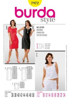Burda Ladies Easy Sewing Pattern 7972 Top & Shift Dresses | Sewing | Patterns | Minerva Crafts