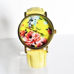 New Summer  Floral Watch Vintage Style Leather Watch by FreeForme, $12.00
