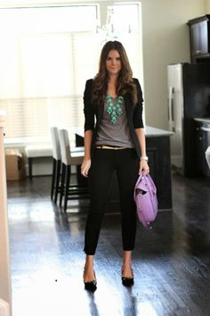 semi-casual work outfit - turquoise bubble necklace with a simple gray tee -- paired with simply black slim dress pants, a skinny gold belt ...