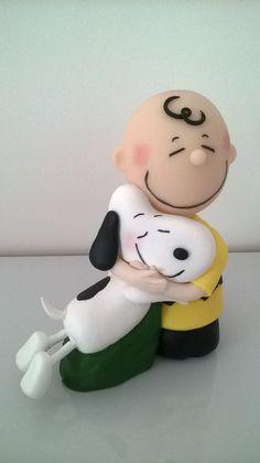 Topo de bolo-Charlie Brown e Snoopy