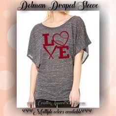 BASEBALL LOVE | draped sleeve | dolman tee | SPORTS | apparel | quotes | tops by…