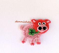 ♥+rosa-pinkes+Glücksschwein+♥+Applikation+von+dannichen+auf+DaWanda.com