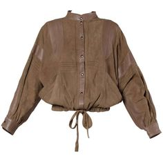 Pre-owned Valentino Vintage Brown Buttery Leather Bomber Jacket ($750) ❤ liked on Polyvore featuring outerwear, jackets, tops, real leather jacket, valentino jacket, blouson jacket, flight jacket and bomber jacket