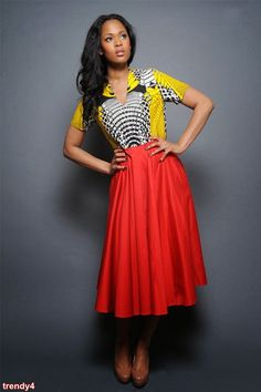 Swing Skirt Tribal Print and Red Dress – Sapelle African Attire, African Dress, African Style, African Beauty, African Inspired Fashion, African Fashion Dresses, Swing Rock, Swing Skirt, Stunning Dresses