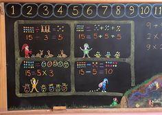 . Abc School, School Fun, Homeschool Kindergarten, Teaching Math, Chalkboard Drawings, Chalk Drawings, Math Gnomes, Class 1 Maths, Second Grade Math