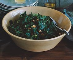 Kale with Panfried Walnuts Recipe | Epicurious.com