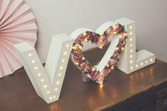 Initials & flower heart light up letter lights, letter lights, marquee lights, flower letters, lighted intials