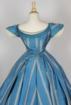 French Blue with Wide Gray Stripes Silk Taffeta Gown with Two Bodices C 1860 | eBay