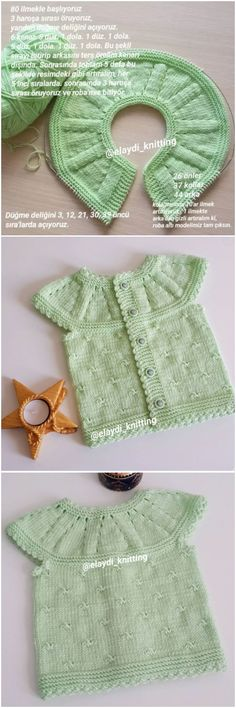 12 pieces of expressive baby vests – Seda Bayrak – Join the world of pin Baby Knitting Patterns, Crochet Baby, Knit Crochet, Knitted Baby, Baby Pullover, Baby Sweaters, Baby Month By Month, Hats For Women, Baby Dress
