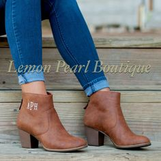 Personalized Brown Ankle Boots
