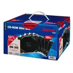Hama CD-ROM-Leerhüllen Slimline (100 Stück)  Nur 5 mm hoch, zur Aufbewahrung einer CD/DVD inklusive Booklet.  superschmale Hülle zur Aufbewahrung von je einer CD-ROM plus Einleger durch die geringe Höhe (5 mm) finden zwei dieser Leerhüllen in einem Standard-CD-ROM-Einschubfach Platz idealer...