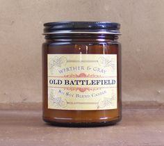 OLD BATTLEFIELD, Soy Blend Candle, 8 oz Amber Jar