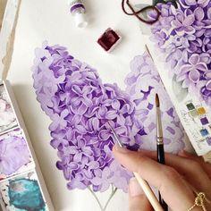 The Lilac. Watercolour Tutorials, Watercolour Painting, Watercolor Flowers, Painting & Drawing, Lilac Painting, Artist Painting, Watercolours, Winsor And Newton Watercolor, Illustration Blume