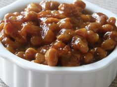 Baked Beans from Food.com: My aunt has been bringing these beans to cookouts for as long as I can remember. She finally parted with the recipe. I was surprised at the ease. They bake up so good.