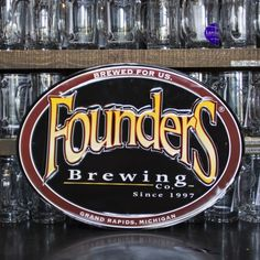 Founders Logo Tin Tacker. Find sweet tin tackers (metal beer signs) for your garage, home bar or man cave on www.tintackers.com