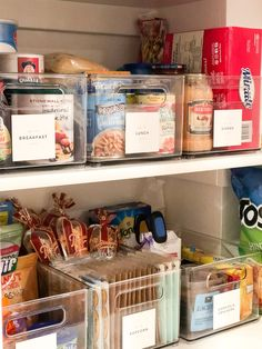 We also are the owners of the world's smallest pantry. Here is how we maximize a small pantry for our large family. Small Pantry Closet, Small Pantry Organization, Container Organization, Pantry Storage, Storage Bins, Organization Hacks, Organizing, Pantry Ideas, Clear Bins