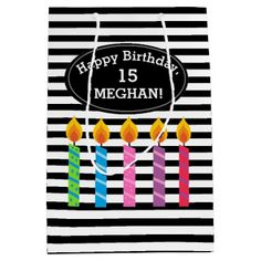 Personalized Birthday Candles Gift Bag - birthday gifts party celebration custom gift ideas diy