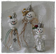 Transform $ Store Salt Shakers into Snow Dolls by Agnes.......