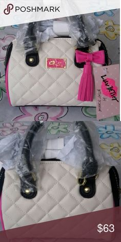 Luv Betsey Handbag New with tags, mini barrel. I bought it online but when it came it was very very similar to one I have so thats why Im Selling. Does not have any flaws.  Detachable crossbody strap.  With beautiful quilted design with tassel and bow.   Dont be shy, send me your offers. I accept reasonable ones. If I can't go with what you offer Il just counter offer.  Im not comenting rude stuff on the comments or acussing of low Ball.  Its your right to offer what you can.  And its my…