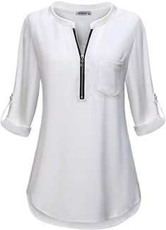 Find MOQIVGI Womens Zip Shirts V Neck Roll Long Sleeve Chiffon Blouse Tops Pocket online. Shop the latest collection of MOQIVGI Womens Zip Shirts V Neck Roll Long Sleeve Chiffon Blouse Tops Pocket from the popular stores - all in one Dress Shirts For Women, Clothes For Women, Clothes Uk, Chiffon Tops, Sleeveless Tops, Mode Hijab, Pakistani Outfits, Long Tops, Look Fashion