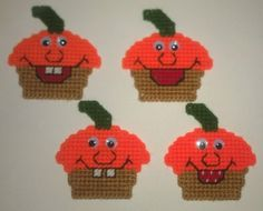 4 Handmade Happy and Silly Pumpkin Magnets Plastic Canvas