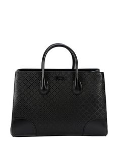Gucci black diamante leather convertible top handle bag