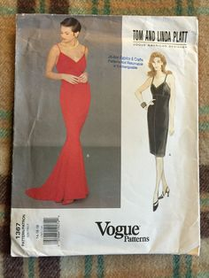 Vogue #1367 Tom and Linda Platt Misses Dress Sewing Pattern from 1994, Sizes 14-16-18 Included - Spaghetti Strap, Mermaid Skirt, Prom Dress