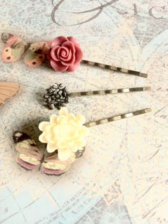 Items similar to Three Piece Bobby Pin Set on Etsy Truffles, Bobby Pins, Third, Cherry, Hair Accessories, Couture, Etsy, Beauty, Cake Truffles