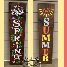 Summer Front Porches, Summer Porch, Summer Time, Spring Summer, Christmas Porch, Christmas Signs, Small Porch Decorating, Painted Wood Signs, Wooden Signs