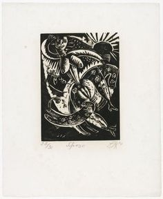 """Scherzo from the portfolio Nine Woodcuts (Neun Holzschnitte)    1920 (published 1922). Woodcut, composition: 9 7/16 x 6 7/8"""" (24 x 17.5 cm); sheet: 17 x 13 7/8"""" (43.2 x 35.3 cm). Paper: Cream, smooth, wove. Publisher: Heinar Schilling, Dresdner Verlag, Dresden. Printer: unknown. 30; plus few proofs printed by the artist. Given anonymously. © 2013 Artists Rights Society (ARS), New York / VG Bild-Kunst, Bonn    517.1951 (Pinned by Erin G)"""