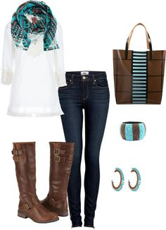 """""""turquoise and brown"""" by danabeek on Polyvore"""