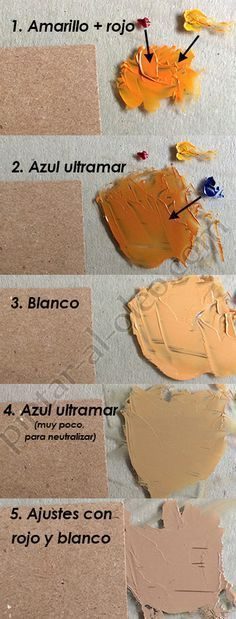 Formar color café claro o marrón claro con pinturas. Colores para hacer tonos de piel.