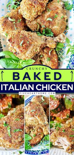 Once you try this chicken recipe, you'll want to make it countless times! Thanks to a crunchy coating of homemade Italian breadcrumbs, this easy baked chicken comes out juicy and flavorful every time… Dinner Recipes Easy Quick, Delicious Dinner Recipes, Good Healthy Recipes, Real Food Recipes, Easy Meals, Cooking Recipes, Simple Recipes, Italian Baked Chicken, Easy Baked Chicken