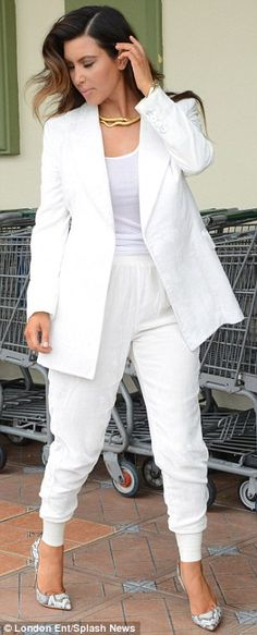 Even celebs make mistakes - Another victim of the unflattering tracksuit is repeat fashion offender #KimKardashian. She got it almost right with her all white outfit and killer snakeskin stilettos. Next time just go with skinny pants.