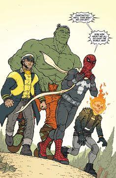 Logan, Hulk, Spider-Man & Ghostrider by Ramon Villalobos