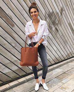 Pin for Later: 37 Genius Ways to Wear Stripes Every Day With Slip-Ons and a Leather Tote