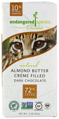 endangered species chocolate.  I love this candy bar!! Non GMO candy also gluten free win win!!  10% profits go to charity.  YUM!