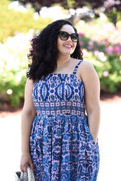 Print Sun Dress, plus size fashion blogger