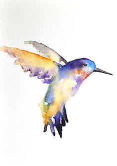 ORIGINAL Watercolor painting  Rainbow Hummingbird