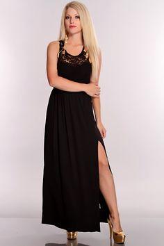 b648d292fa8fc Black Floral Mesh Side Slit Maxi Dress   Sexy Clubwear