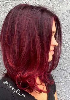 100 Badass Red Hair Colors: Auburn, Cherry, Copper, Burgundy Hair Shades - New Hair Red Balayage Hair Burgundy, Auburn Balayage, Red Ombre Hair, Hair Color Auburn, Ombre Hair Color, Red Burgundy Hair Color, Burgundy Bob, Reddish Hair, Purple Hair
