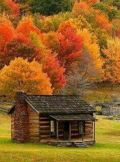 Richard Hogg Photography: Cabin in Fall Colors. Cabin in Fall Colors - Photographed at Grayson Highlands State Park, Virginia. Posted by Richard Hogg Autumn Scenes, Summer Scenes, Fall Pictures, Images Of Fall, Old Barns, Cabins In The Woods, Belle Photo, Beautiful Landscapes, Beautiful Nature Scenes