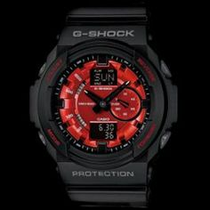 efbc1c23d7f Casio G Shock Black Resin Analog Digital with Metallic Red Face