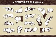 Vintage Hands | Vector Icons by Vecster on @creativemarket